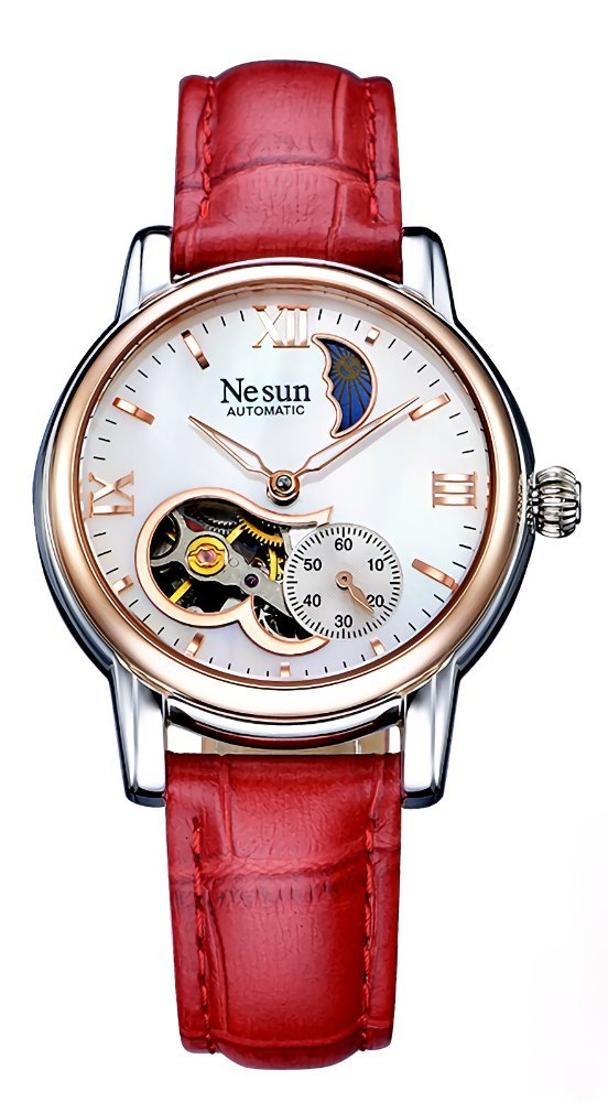 Women's Watches Heart-Shape Skeleton Fashion Mother of Pearl Dial Mechanical Watch with Leather Band (Red-Rose Gold)