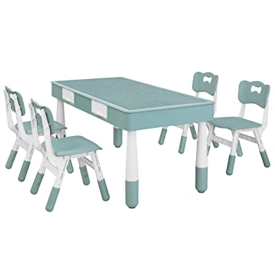 POTBY Kids Table and 4 Chairs Set, Multi Activity Children Play Building Blocks & Toys, Study & Paint Desk with Reversible Tabletop, Storage Drawer and Height-Adjustable Chair, for Boy Girl: Kitchen & Dining