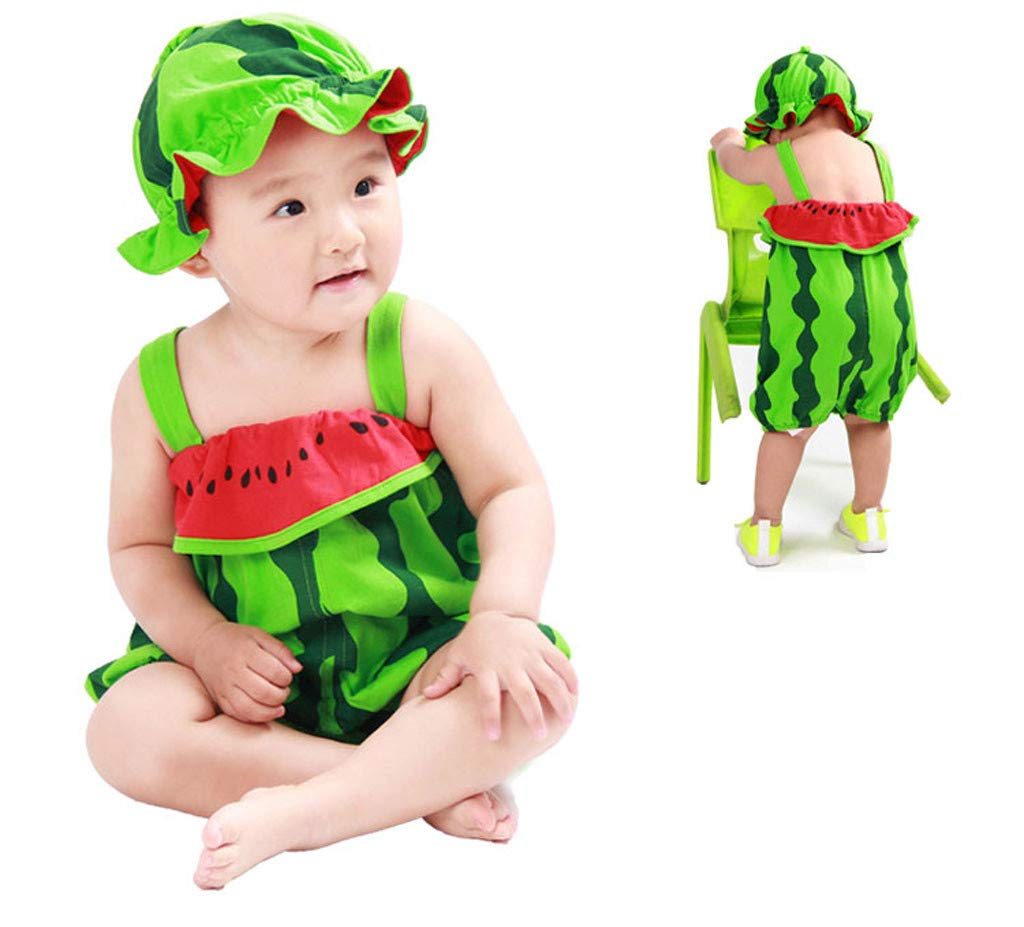 2pcs Newborn Baby Jumpsuit, Boy Girls Cute Strap Rompers Cartoon Fruit Tops Hat for 0-2yesars (12-18 Months, Green)