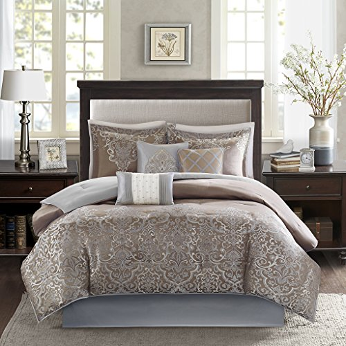 Jacquard Queen 7 Piece Comforter - Madison Park Vanessa Queen Size Bed Comforter Set Bed in A Bag - Gold Brown, Jacquard – 7 Pieces Bedding Sets – Ultra Soft Microfiber Bedroom Comforters