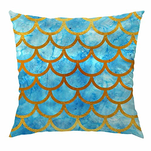 HGOD DESIGNS Mermaid Pillow Cover,Blue Mermaid Scales Pattern Home Decorative Soft Satin Cushion Throw Pillow Cover 18x18 inch -