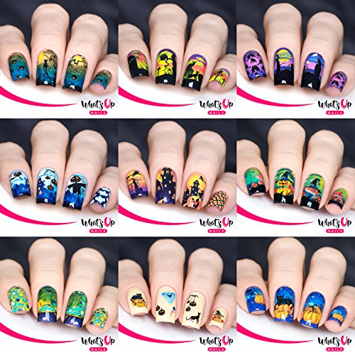 Halloween 9 Pack (P036 – P043, S004) Water Decals Sliders for Halloween Nail Art (Halloween Pumpkin Nail Art)