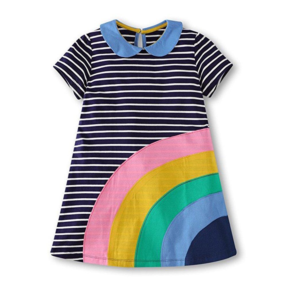 HILEELANG Little Girls Cotton Dress Short Sleeves Casual Summer Striped Printed Shirt