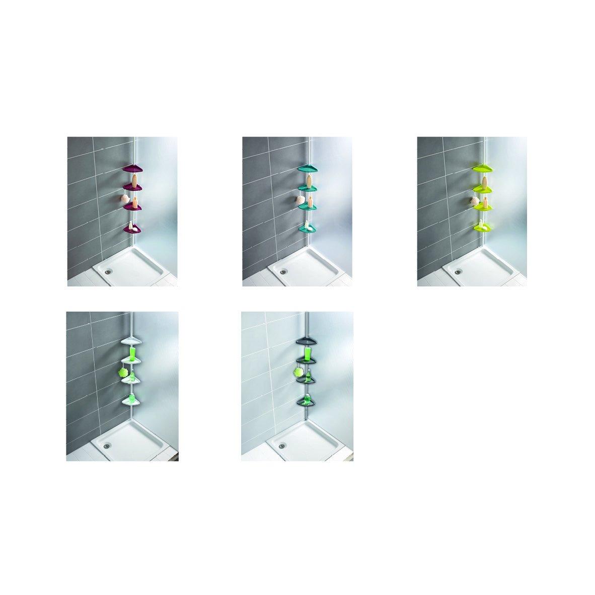 Wenko 3201824100 Rinconera para Ducha telescópica Compact Plata - 4 repisas, Aluminio, 26 x 78-275 x 19.5 cm, Plata