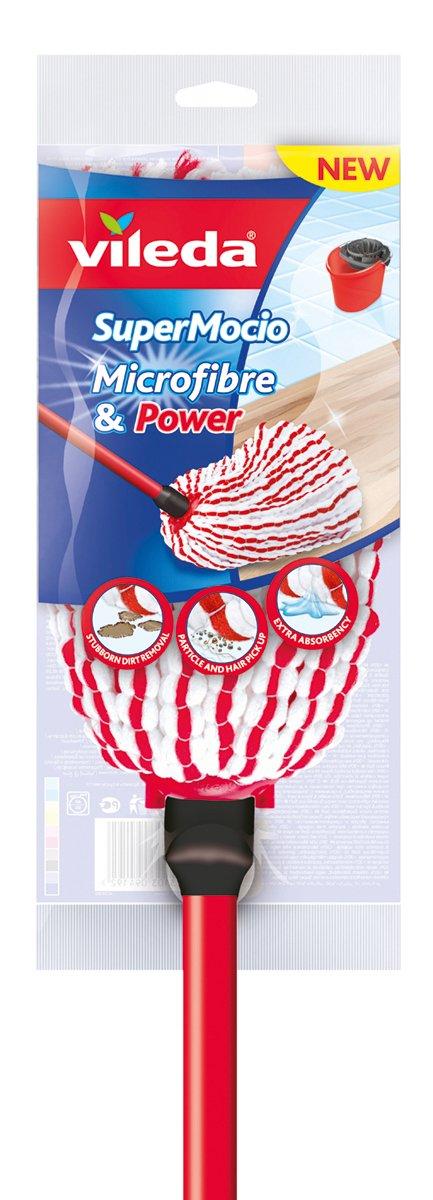 Vileda – Super Mocio Microfibre et Power - Balai Serpillère à Franges - Ultra absorbant et dégraissant - Fibres rouges et blanches 158341