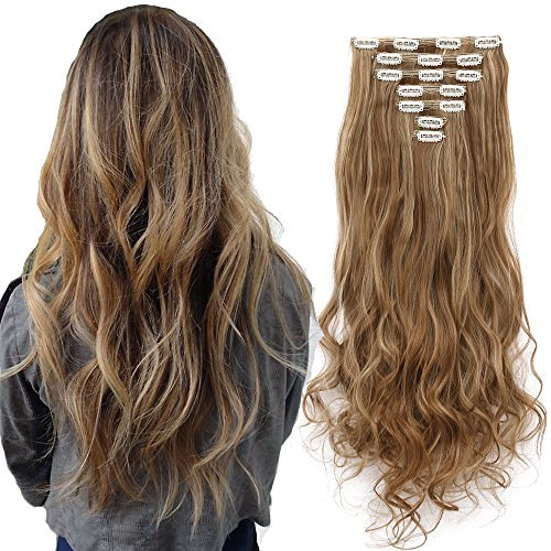 7Pcs 16 Clips Thick Curly Straight Full Head Clip in Double Weft Hair Extensions