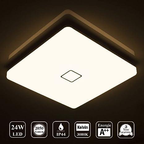 Öuesen LED 24W lámpara de techo resistente al agua moderna LED luz de techo cuadrada delgada 2050lm Blanco cálido 3000K para baño Dormitorio Cocina ...