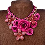 Juicart Women Charm Flower Crystal Statement Necklaces Chunky Chain Choker Collar Pendant (Rose red)
