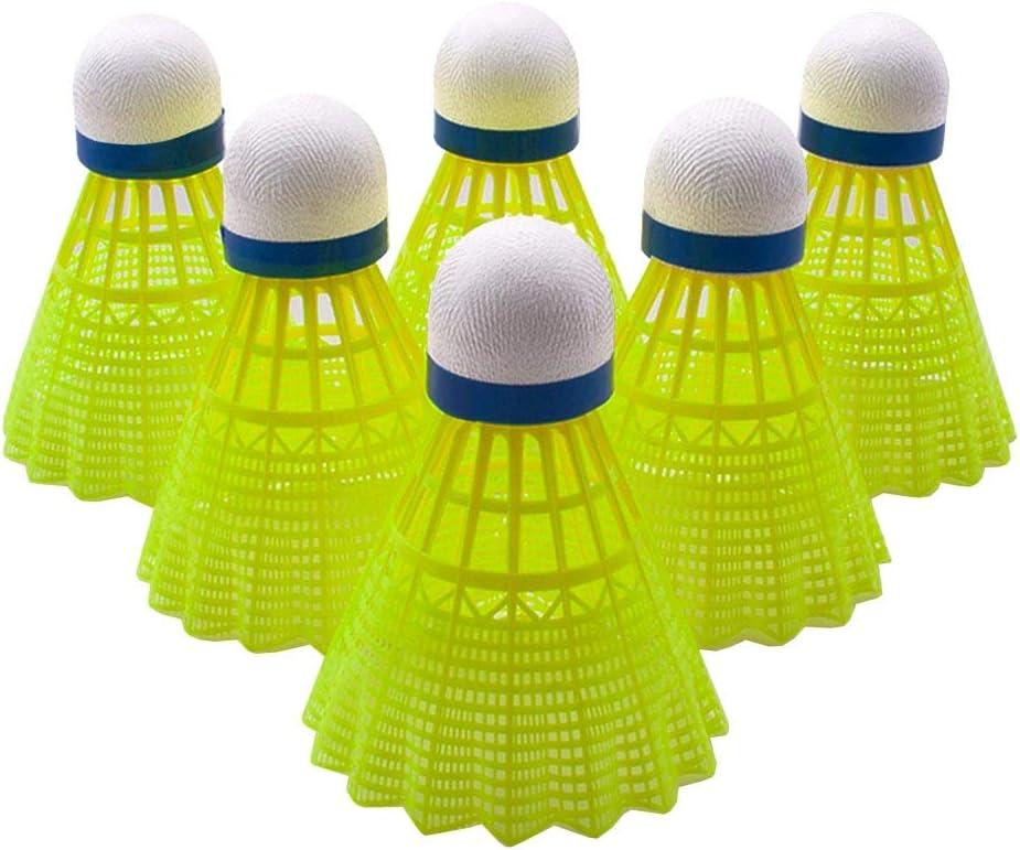 Senston 6 Piezas Estabilidad Volantes de B/ádminton Plumas//Nylon Badminton Indoor Outdoor Entrenamiento Deportes Badminton