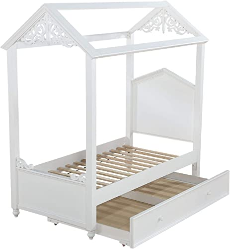 Major-Q 9037345F 9037348 82 x 75 x 85 H White Finish Youth Romance Princess Fairy Tale Style Magical Canopy Full Size Bed