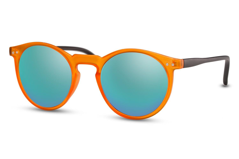 Cheapass Occhiali da Sole Rotondi Marroni Specchiati Unisex