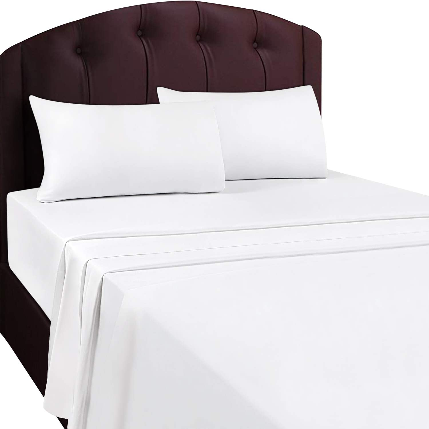 Utopia Bedding Flat Sheet- Soft Brushed Microfiber Fabric - Shrinkage & Fade Resistant Top Sheet - Easy Care - 1 Flat Sheet Only (Twin, White): Home & Kitchen