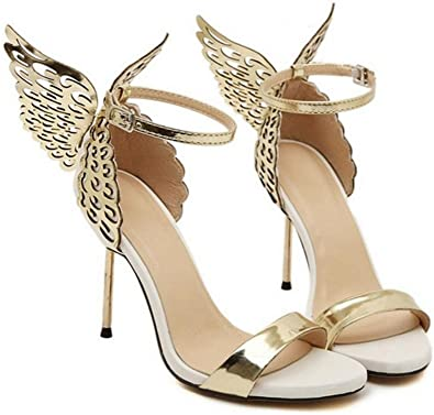 WZG Chaussures à Bout Ouvert Ange Ailes Papillon Mot d'acier