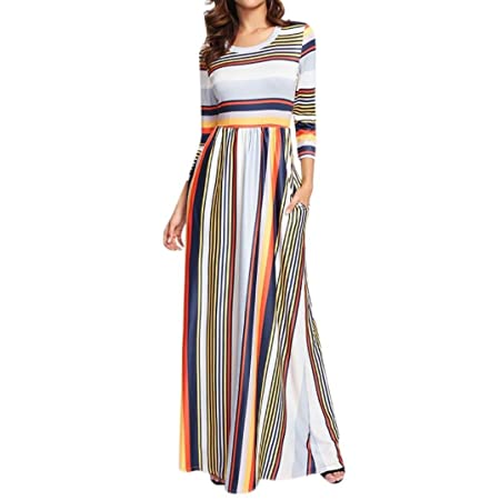 4b18cd0ad8d3 Kanpola Women s Casual Short Sleeve Elastic Waist Striped Splice Maxi Dress  Pockets (Tag XL UK 12
