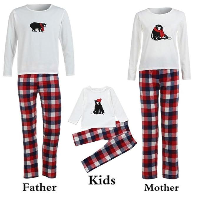2PCS Ropa para toda la familia, Yannerr bebé niña niño mujer hombre manga larga oso