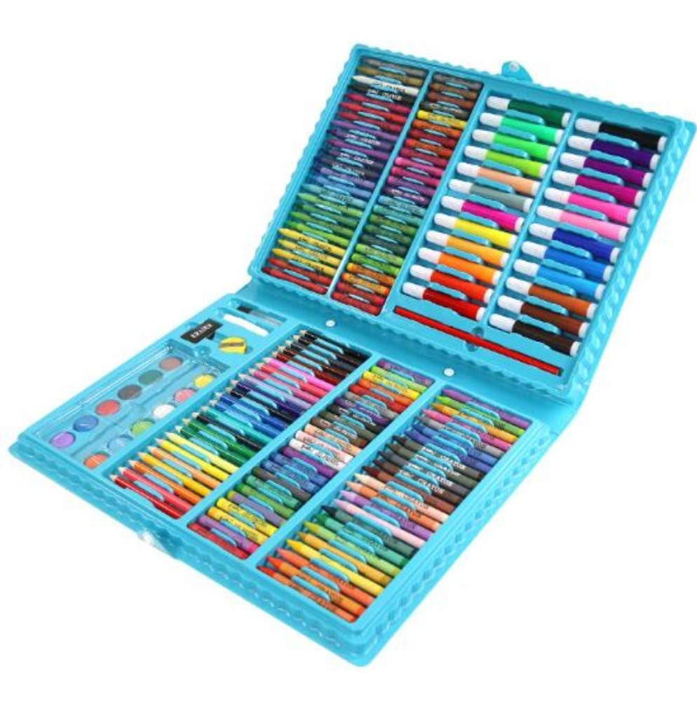 HQYDBB Kids Premium Art Set, 188 Set di pennelli per Bambini, pastelli, Penne per acquerelli, Materiale per la Scuola primaria, C