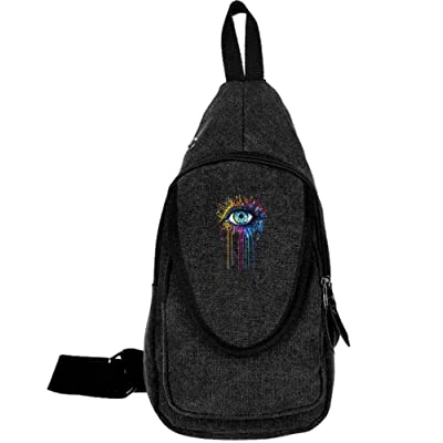 Ewfweef Rainbow Eye Canvas Sling Bag Travel Chest Crossbody Daypack For Women Men