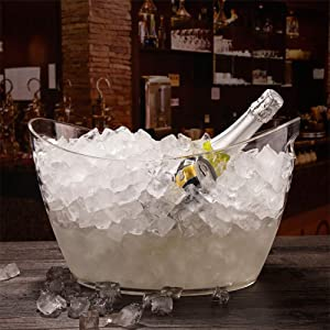 WYMESW Ice Beverage Tub,Clear Acrylic Ice Bucket,Large Champagne Bucket Bottle Cooler,Portable Wine Chiller Ice Cube Container for Party Bar-Clear 41x28x24cm(16x11x9inch)