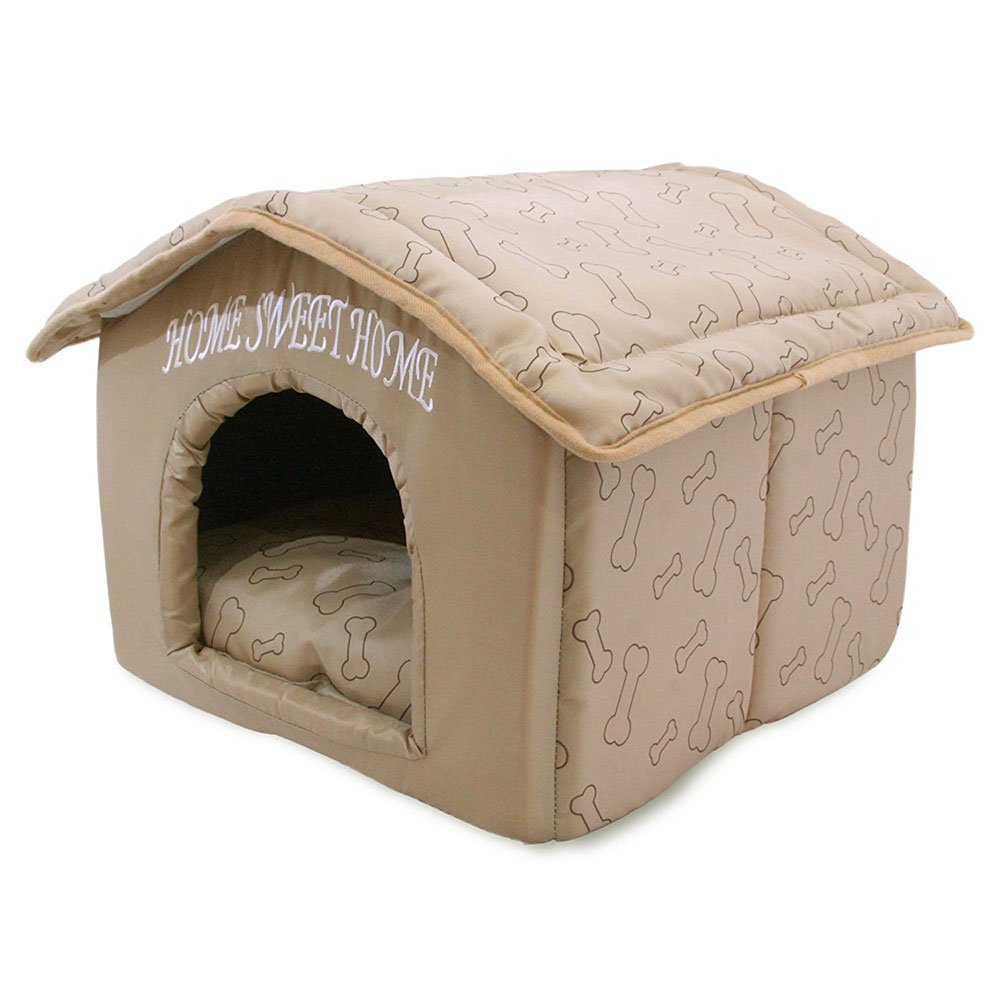 Light Brown (16\ Best Pet Supplies Portable Indoor Pet House – Perfect for Cats and Small Dogs, Easy to Assemble – Brown