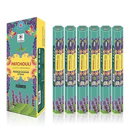 Patchouli Incense Sticks - Chakra Patchouli Incense Sticks - Pack of 6 (120 Sticks)
