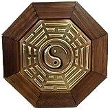 Quadro Oitavado Feng Shui Baguá do Céu Posterior Yin Yang Moldura Madeira Escura - 18cm