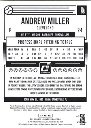 2018 Donruss #98 Andrew Miller - NM at Amazon's Sports