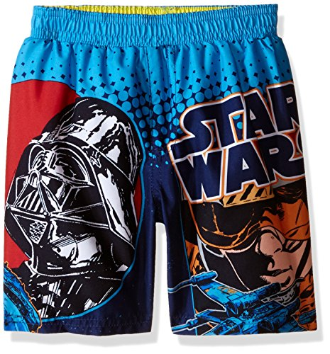 (Star Wars Little Boys' Toddler X-Wing Darth Vader Swim Trunk, Blue,)