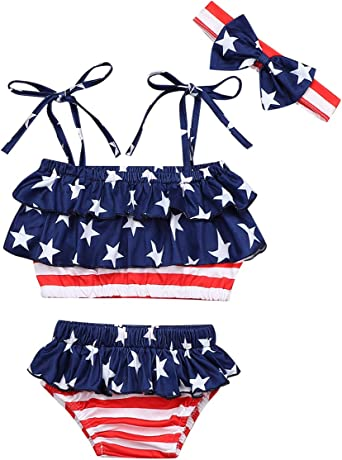 4th of July Bikini Sets Toddler Baby Girl Halter Swimsuit Stars Print Shorts Bathing Suit Swinwear