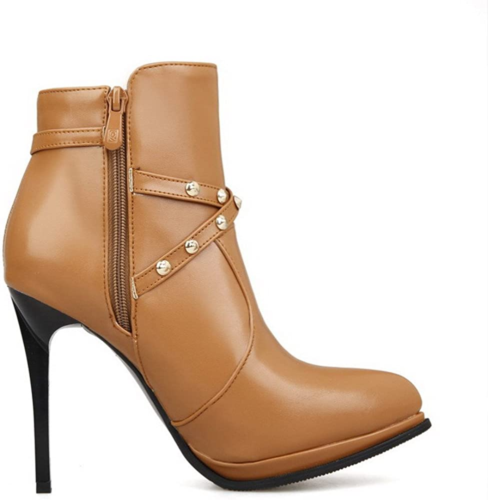 AllhqFashion Womens PU Blend Materials High-Heels Boots with Metal Ornament and Zippers