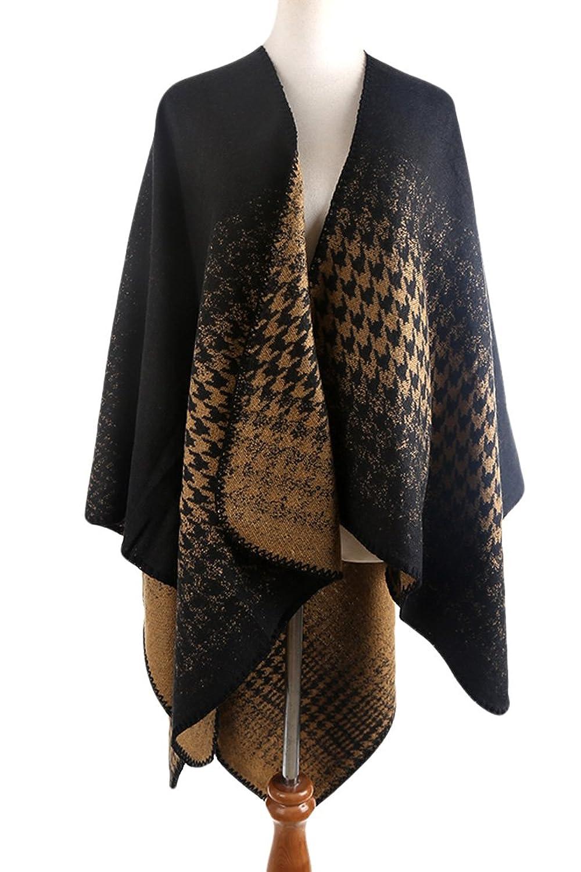VamJump Women Winter Houndstooth Oversized Poncho Cape Shawl Cardigan Coat