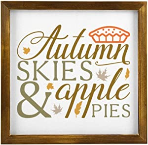 DONL9BAUER Autumn Skies Apple Pies Thanksgiving Wooden Framed Sign Fall,Farmhouse Wall Hanging Modern Rustic Farmhouse Decor Wall Art for Kitchen Living Room