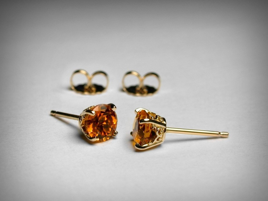 5MM Round Shape Citrine Earrings in 14k Yellow Gold