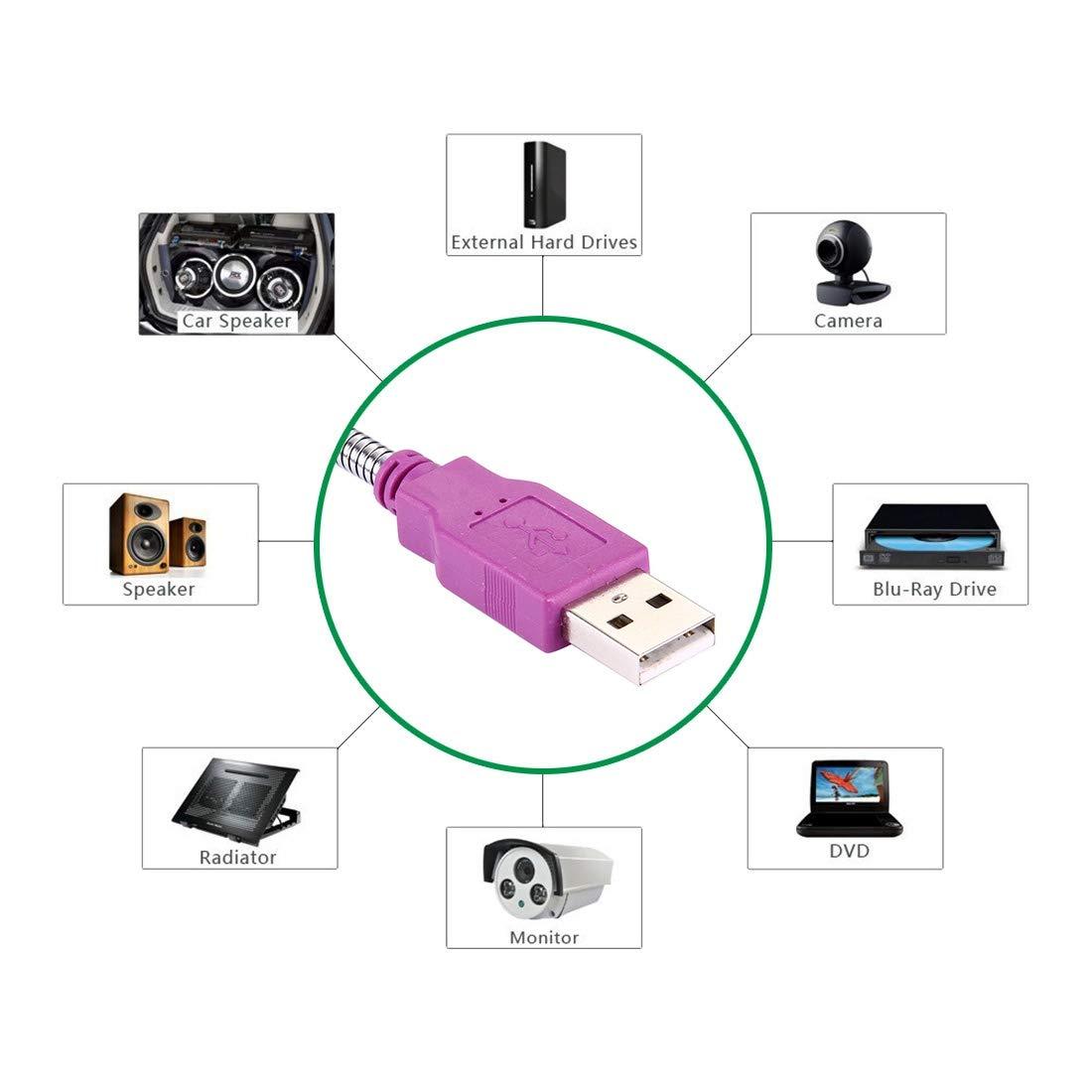 Purple Computer Cables /& Connectors 10cm USB 2.0 Female to USB 2.0 Male Metal Soft Hose Adapter Cable USB Cable Color : Purple