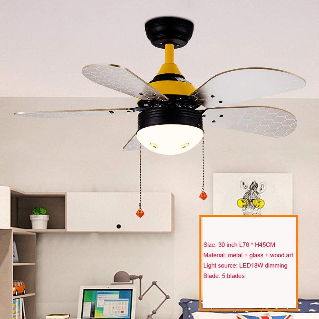 Ventilador de Techo con Iluminación 18W led Luz De Techo, Ventilador De Techo LED Ventilador De Luz, Velocidad del Viento Ajustable, Tire del interruptor, 76 * 45cm
