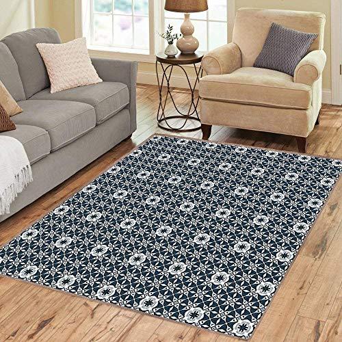 (Rug,FloorMatRug,Traditional,AreaRug,Europe Azulejo Portuguese Mosaic Tiles Folkloric Cultural Heritage Spanish,Home mat,6'6