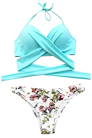 e15928343 CUPSHE Women's Sweet Mint Cross Tie Back Halter Bikini Set Beach Swimwear,  Blue, Small