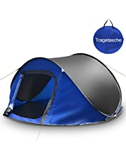 COSTWAY Pop up Zelt Wurfzelt Campingzelt Sekundenzelt, Schnellaufbauzelt 3 Personen, Quicktent Wasserdicht