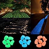 chic style 300pcs Glow in the Dark Pebbles Stone Garden Walkway Decor Outdoor Bulk Fish Tank Aquarium Glow Decorations Gravel Rocks (Blue Green Orange)