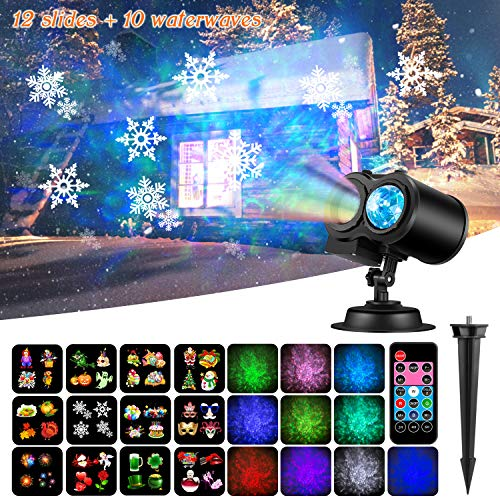 (NEXGADGET Christmas Projector Light,2 in 1 Water Wave Light Projector with 12 Slides,Holiday Decoration Light for Party,Birthday,Remote Control Waterproof)