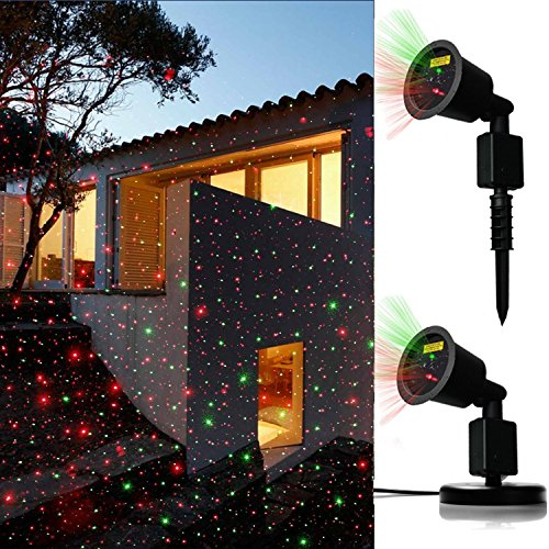 JD Laser Lights Landscape Projector Laser Beams Christmas Holiday Lights Illuminate for Pool Area,Party Hall, DJ Indoor/Outdoor Light Show Use Low Voltage,Dynamic Color Auto ON/OFF - Christmas Strobe Lights