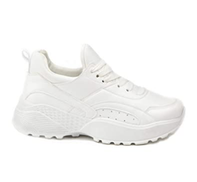 5ceeab8beab4e Ladies Womens White Chunky Disruptor Trainers Lace Up Retro Sports Gym  Sneakers Shoes Size (8