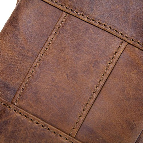 Brown Pouch Belt Men Brown Bag Black Leather Small Gtuko black Vintage For Genuine Phone IxqUCYP