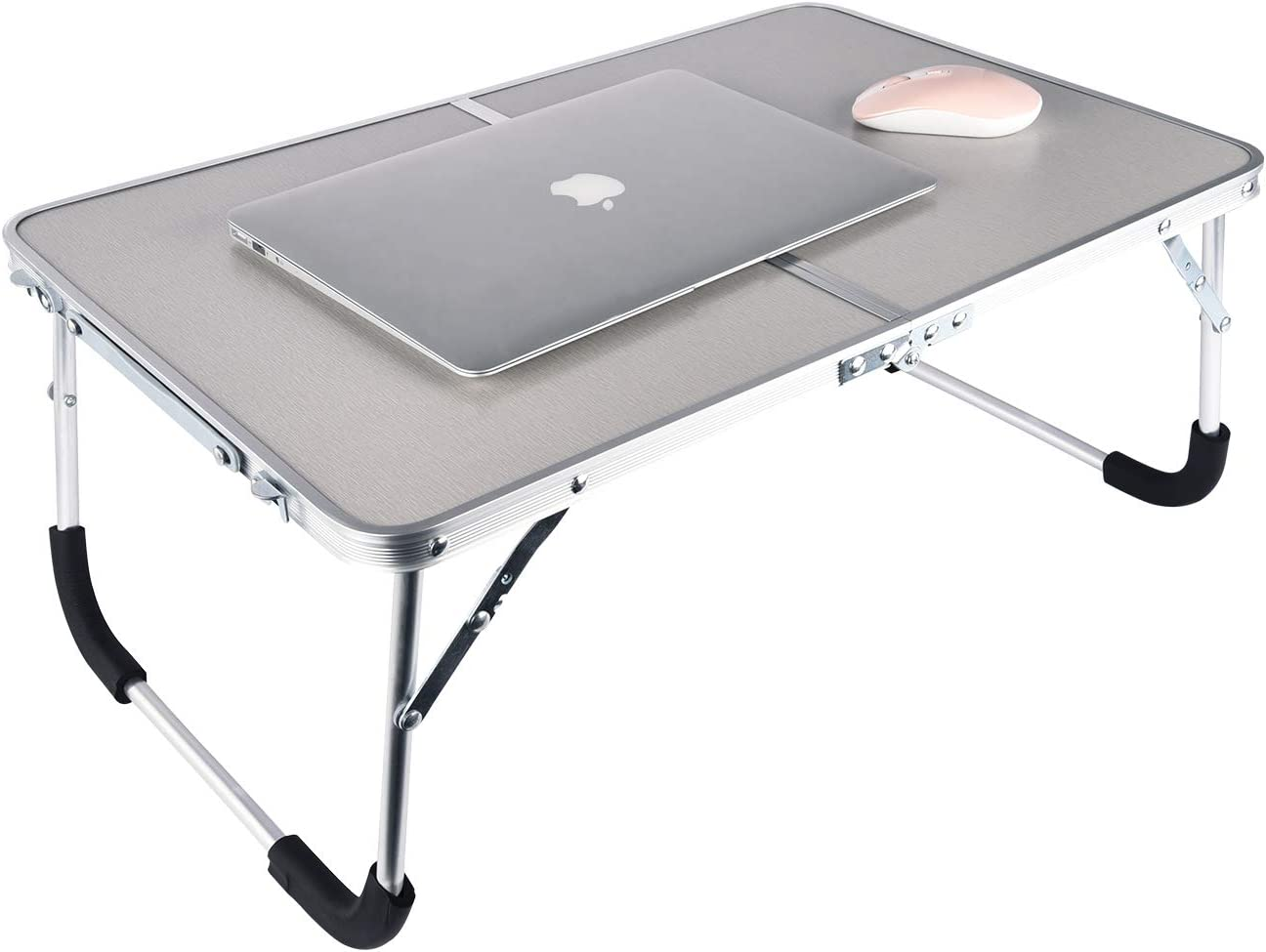 SISFORCE Foldable Laptop Table,Bed Desk Breakfast Serving Bed Tray,Portable Mini Picnic Desk Sofa Breakfast Tray, Notebook Stand Reading Holder-Gray