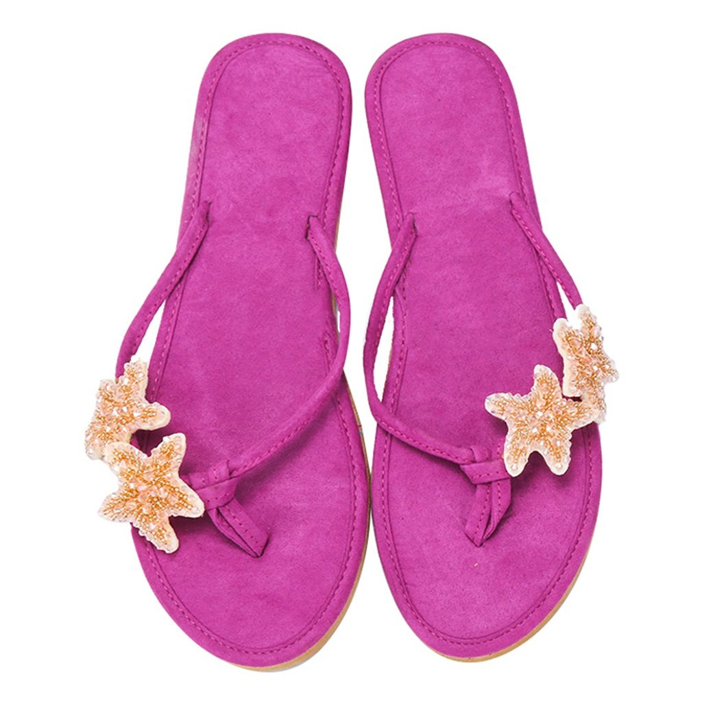 Women's Starfish Purple Casual Beach Seaside Flip-Flop Sandals - DeluxeAdultCostumes.com