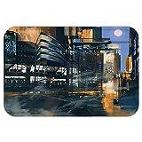 VROSELV Custom Door MatFuturistic Digital Paint Science Fiction Cityscape Architecture Cyberpunk Technology Black Orange Blue