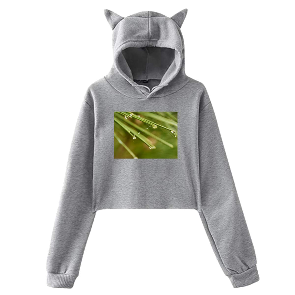 Personality Leaf Girl Cat Ears Umbilical Hoodie,Leaf Fashion Sweatshirt Sweater