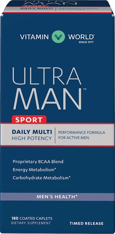 Vitamin World Ultra Man Sport Daily Multivitamin Feat. Selenium, Vitamins B, C, E, Magnesium Health Wellness Multi-Supplement for Overall Wellness for Active Men, 180 Caplets
