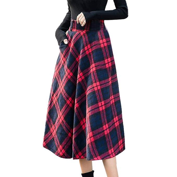 377581c4c393 WHSHINE Damen Vintage Plaid Drucken Wollrock hohe Taille Langen röcke Warm  Wolle Retro Elegant Winterrock Herbst