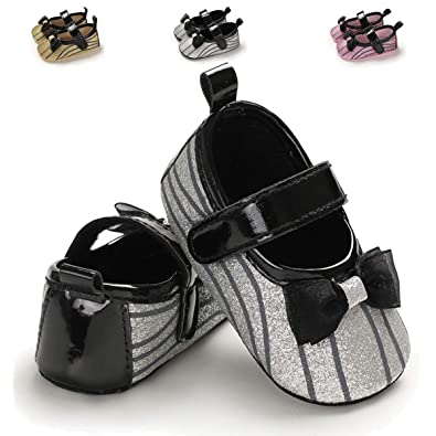 ENERCAKE Infant Baby Girls Mary Jane Flats Non Slip Soft Soled Toddler First Walkers Crib Shoes Princess Dress Shoes Silver Size: 6 12 Months Infant