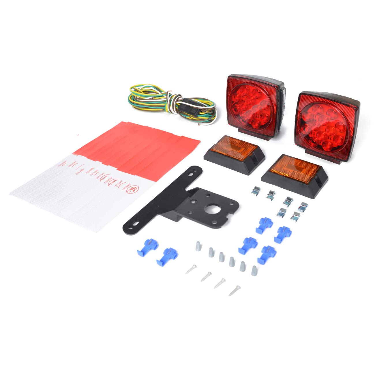 Two Amber LED Marker Lights HQAP 2018 New 12V Submersible LED Trailer Light Kit: Two Combined Stop taillights 21 feet and 4 feet Coded Wiring Harness,10pcs Reflective Stickers MLA000502 Turn Signals